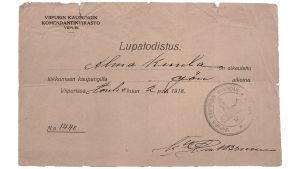 Alma Kuulan kulkulupa 2.5.1918.