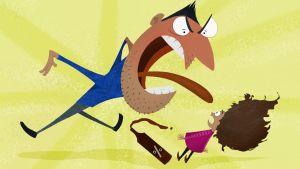 Animerad bild på en förälder som ryter åt ett barn på grund av dennes alkoholbruk.