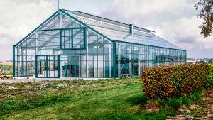 Bild av ett speciellt hus som liknar ett hus inuti ett växthus.
