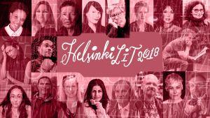 Helsinki Lit 2018, kuvassa paljon tapahtumaan liittyviä kirjailijoita