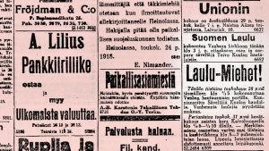 Ilmoituksia Helsingin Sanomissa 28. toukokuuta 1918.