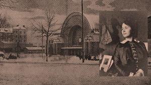 Alma Kuula. Viipurin rautatieasema talvella 1900-luvun alussa.