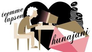 Kuvituskuva. Vanhempi nainen istuu tietokoneen ääressä, taustalla musta sydän ja rahaa.