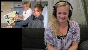 Kätilö Johanna Nyyssölä katsoo synnytystä käsittelevää reality-sarjaa.