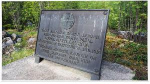 Matti Laurilan muistomerkki Tampere-Jyväskylä -tien varrella Länkipohjassa.