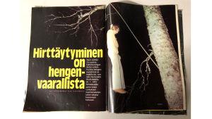 Kuva Hymy lehden Aimo Leikaksen hirttäjäisistä kertovasta jutusta.