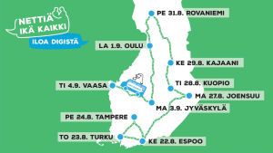 Nettiä ikä kaikki – iloa digistä -kiertueen päivämäärät ja paikkakunnat Suomen kartalle aseteltuna