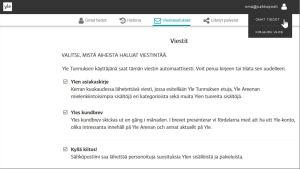 Valikko Yle Tunnuksen käyttäjäasetuksissa. Valikossa valittavana Yle Areenan kuukausikirje.