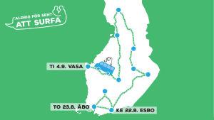 Bild på en karta där främst södra och västra Finland syns med Esbo, Åbo och Vasa utmärkta på kartan.