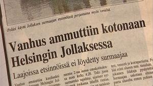 """Yleisradion asiaohjelma """"Rikostarinoita Suomesta"""", osa Tilattu murha, 2004."""