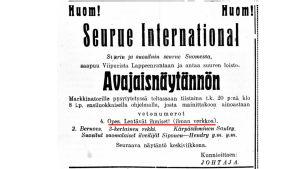 Sirkuksen mainos Etelä-Savo -lehdessä vuonna 1924