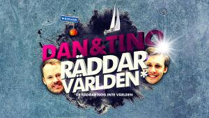"""Logo för äventyret. Dans och Tinos ansikten utklippta. Mellan dem texten """"Dan och Tino räddar världen."""