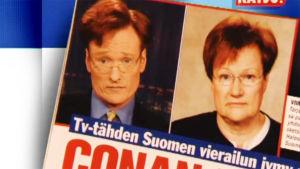 Conan O'Brien ja Tarja Halonen lehden kannessa.