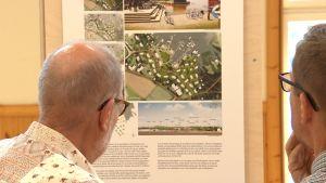 Två män med glasögon och grånande hår tittar på en utställning om hur hus i skärgården kunde byggas.