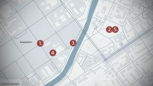 Karta med utplacerade punkter där de nämnda skräckhistorierna skett nära och i Åbo centrum.