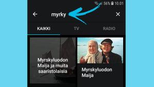 Kuvakaappaus Yle Areena -sovelluksesta: Tv-sarjan nimeä hakupalkissa.