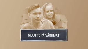 Muuttopäiväkirjat-ohjelman promokuva, jossa näkyy nuoripari ja muuttolaatikoita.