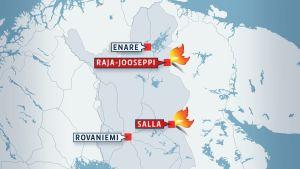 Karta med Lapplands bräder markerade.