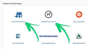 Kuvakaappaus suomi.fi-palvelun tunnistautumissivulta: Vaihtoehtoina pankkitunnusten lisäksi Varmennekorttii tai Mobiilivarmenne.