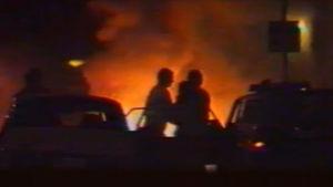 Kuvamateriaalia Mikkelin panttivankidraaman räjähdyksestä (Ylimääräinen uutislähetys 9.8.1986)