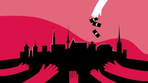 Kuvituskuva. Rahaa putoaa ylhäältä vaaleasta kämmenestä kohti pohjalla odottavia tummia käsiä. Taustalla näkyy Tallinan siluetti