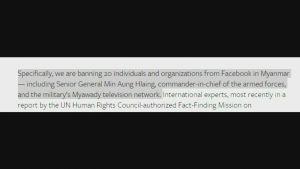 Facebook tar ställning till Myanmar