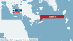 Karta äver Egeiska havets västra del, Hydra (Idra) uppmärksammat.