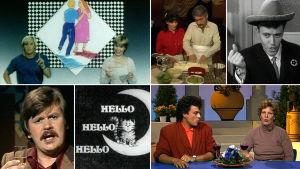 Kuvakollaasi Ylen kieliohjelmista eri vuosikymmeniltä