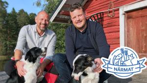 Matias Jungar och Micke Björklund med två hundar.