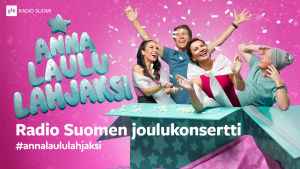 Janna, Mikko Kuustonen, Arja Koriseva ja Redrama lahjapaketissa