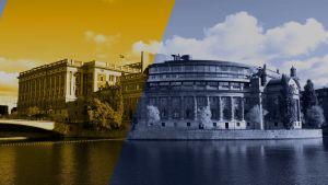Sveriges riksdag i gult och blått.