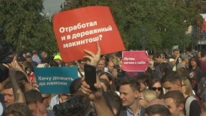Demonstration mot pensionsreform i Moskva