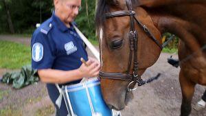 Luigi-poliisiratsu nuuhkii harjoitusmarssirumpua, jota Jukka Aarninsalo soittaa.