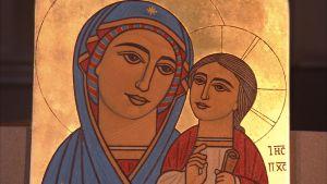 ikon Maria och jesusbarnet