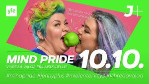 Mainoskuva Mind Pridesta 10.10. Kuvassa Jenny ja Saara puraisevat samaa omenaa.