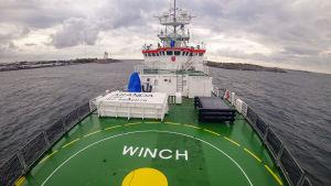 Forskningsfartyget Aranda fotograferat från fördäck.