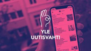 Uutisvahti-Digitreenin pääkuvassa Punaisella pohjalla käsi pitelee kännykkää ja teksti Yle Uutisvahti