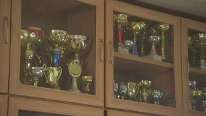 Pokaler i ett skåp.