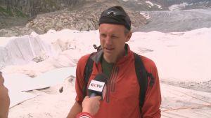 Glaciärforskaren Andreas Bauder i Schweiz