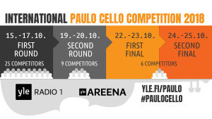 International Paulo Cello Competition will be held October 15 - 25, 2018. Follow live streams at yle.fi/paulo