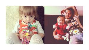 Kaksi kuvaa Huurinaisten kotialbumista. Ensimmäisessä kuvassa Laila juo mehua mukista ja katsoo kameraan. Toisessa kuvassa Laila istuu Heikki-isän kainalossa sohvalla.