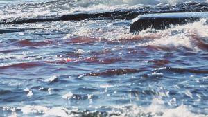 blod i havet och klippor