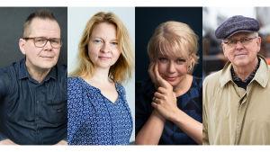 Kirjailijat Kari Hotakainen, Anna Kortelainen, Elina Hirvonen ja Antti Tuuri