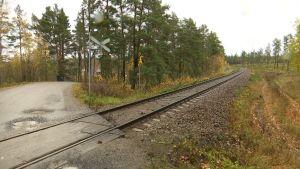 järnvägsspår korsas av landsväg