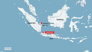 karta över platsen där flygolyckan inträffade
