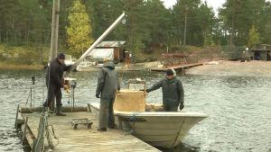 En låda med fisk hissas upp från båten som står vid bryggan.