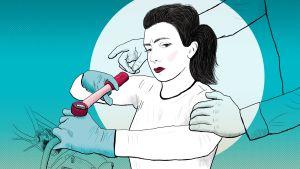 Kuvituskuva: miehen kädet naismekaanikko-oppilaan olkapäillä