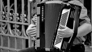 mies soittaa harmonikkaa