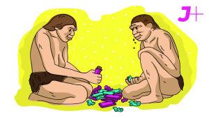 Kaksi kivikautista miestä syö välipalapatukoita
