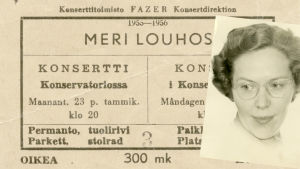konserttilippu Meri Louhoksen ensikonserttiin 23.1.1956.